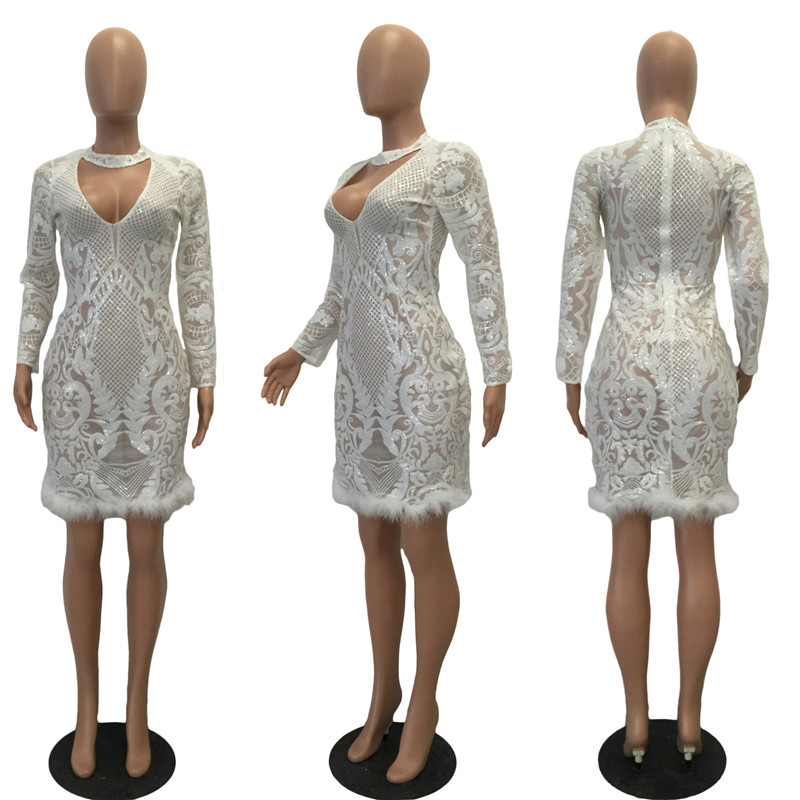 Ahmagen Autumn Winter White Long Sleeve Sequin Dress 2018 Sexy Halter Deep  V Neck Bodycon Lace Party Dresses Nightclub Vestidos-in Dresses from  Women s ... d50003a2aff3