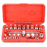 * 18Pcs Sets Car Tools For Auto Repair Mechanics Box Socket Triangle Square Hexagon Oil Drain Pipe Plug T Removal Kit