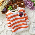 Бесплатная доставка Осень и Зима мальчик полосатый толщиной дна рубашки, мальчик теплый футболка, дети топ, плюс бархат # Z1682C