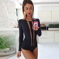 2016 autumn bodysuit women all black slim transparent bandage jumpsuit sexy romper playsuit overall one piece set T05