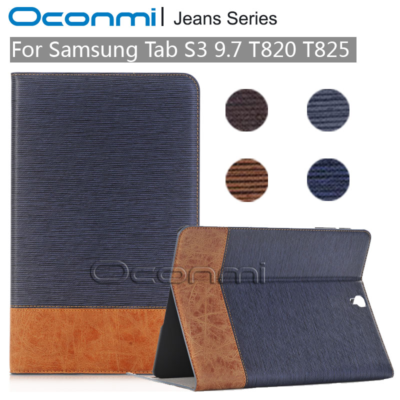Luxury Jeans PU Leather case for Samsung Galaxy Tab S3 9.7 inch SM- T820 SM-T825 tablet cover for Samsung Galaxy Tab S3 9.7 case new fashion tab s3 9 7 tablet case pu leather flip cover for samsung galaxy tab s3 9 7 inch t820 t825 cute stand cover 6 colors