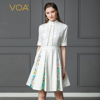 VOA Heavy Silk Print Pleated Dress Women Plus Size 5XL White Office Half Sleeve Midi Dress Casual Summer Slim Beading A161