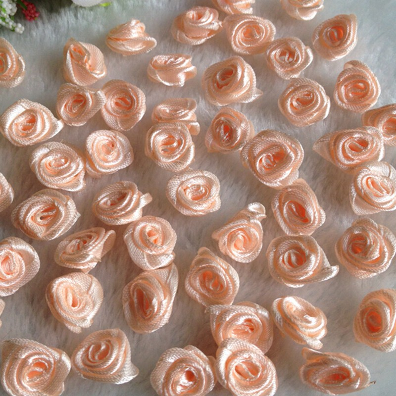 HL 100pcs Peach Ribbon Rose Flowers Wedding Decoration DIY Crafts Apparel  Accessories Sewing Appliques 15MM A663