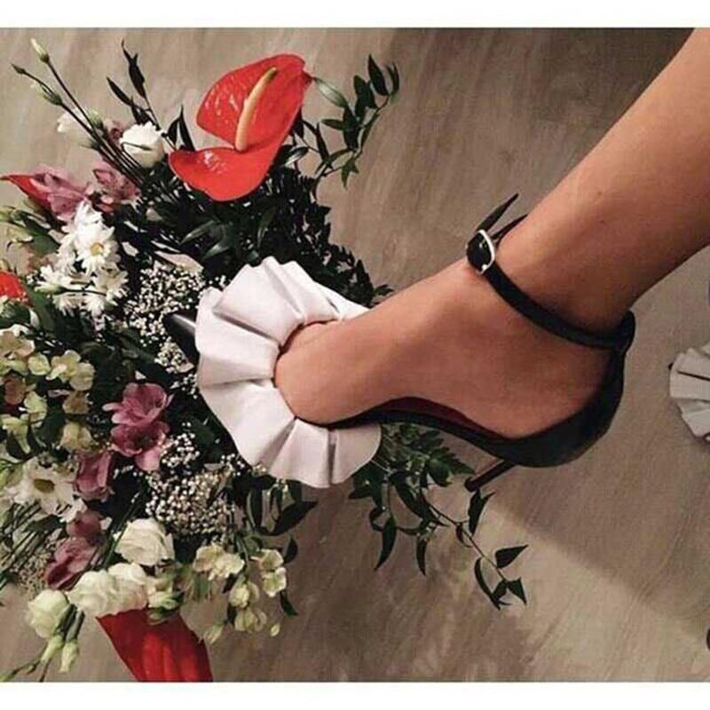 b86b7cc9ff3 Ruffles Design High Heels Women Pumps Ankle Warp Summer Shoes Woman Sexy Ladies  Stiletto Pointy Toe