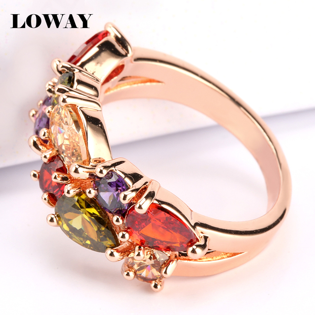 Multicolor Rings  Cubic Zirconia