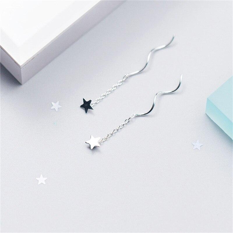 Romad Hot Sale Authentic 925 Sterling Silver Earrings Star Tassel Twist Stick Bar For Elegant Women Fine Jewelry in Stud Earrings from Jewelry Accessories