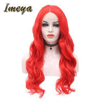 Imeya Long Body Wave Wigs Red Hair Color Lace Front Wigs With Middle Part Heat Resistant Synthetic Party/Cosplay Wigs For Women