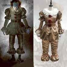 Фильм Стивена Кинга это Pennywise полный набор взрослых Для мужчин Для женщин клоун костюм фантазии Хэллоуин карнавальных Джокер Костюмы для косплея