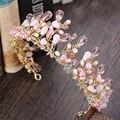 Barroco de luxo rosa de cristal coroas nupciais tiaras pérola handmade strass headbands acessórios para o cabelo das mulheres de casamento headpieces