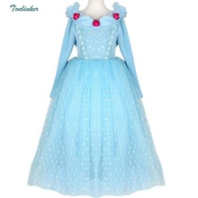 Halloween Christmas Cosplay Cinderella Costumes Girls Princess Flower Long Sleeve Tutu Dress Children Birthday Party Deluxe