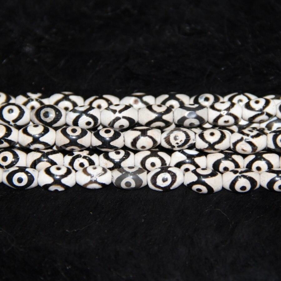 10x14mm 3 Augen Tibetanische Halskette Reis Perlen Tibetischen Mystische Onyx Dzi Edelsteine Stein Tibetischen Matte Rostturtlenetz Trommel perlen