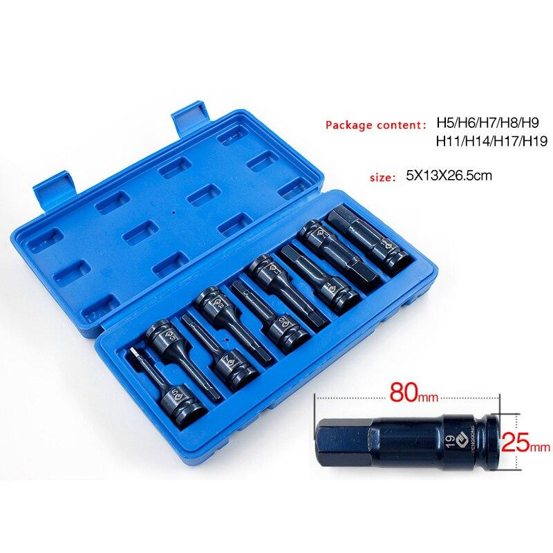 9 pièces/ensemble 5mm-19mm douille hexagonale manchon buses tournevis douille ensemble écrou pilote ensemble foret adaptateur Hex outils électriques