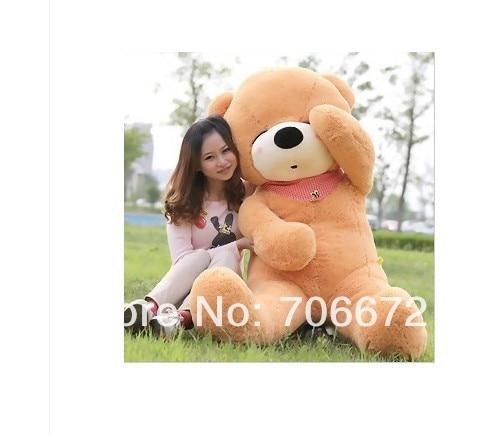 ФОТО New stuffed light  brown squint-eyes teddy bear Plush 120 cm Doll 47 inch Toy gift wb8311