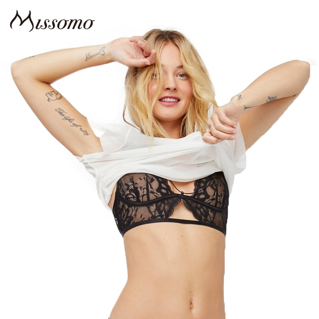 b129443950141 Missomo Sexy Black Lace Bralette Women Push Up Mesh Semi Sheer Hollow Out  Floral Bra Lady Backless Cross Back Underwears Female