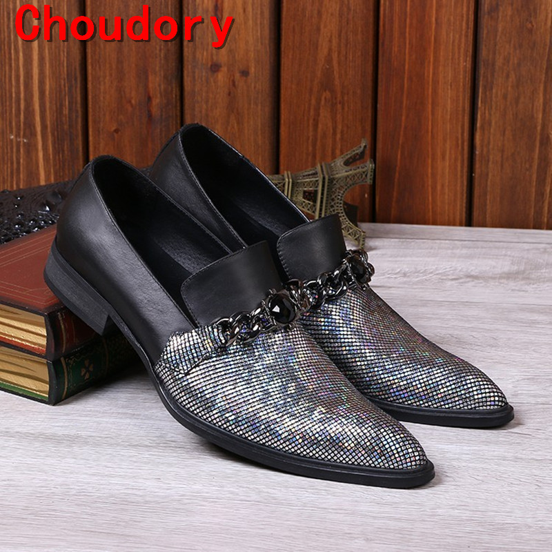 Mens designer shoes Luxury brand elegant men formal shoes studded glitter loafers iron toe zapatos hombre pluse size 2018 high quality 2016 new design unique genuine leather men shoes zapatos hombre snake luxury brand formal casual mens loafers shoes
