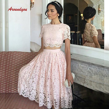 Sexy Pink Lace Short Cocktail Dresses Plus Size Two 2 Piece Formal Graduation Prom Party Homecoming Dresses
