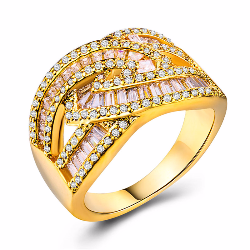 Rose gold rings Diamond ring Topaz crystal Luxury jewelry Creative ladies plated in 18k diamond for women B845