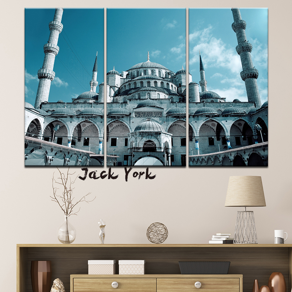 Canvas Painting bule Sultan Ahmed Mosque 3 Pieces Wall Art Modular Wallpapers Poster Print for living room Home Decor