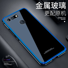 For Huawei Honor View 20 V20 Case Transparent Clear Glass Cover for Luxury Aluminum Metal Bumper honor v20