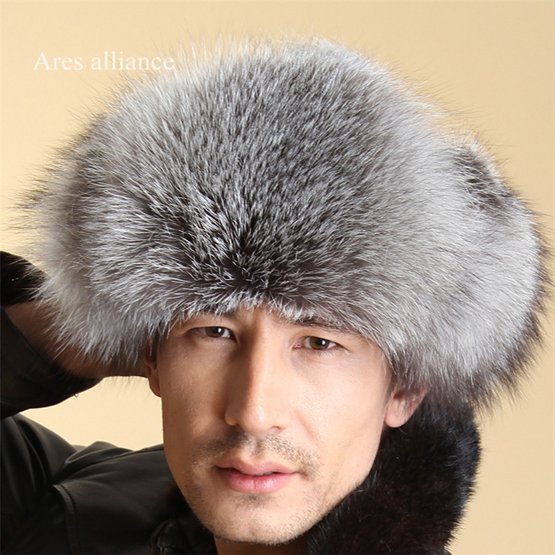 204f833b9416a 100% Genuine Fox Fur Hats Autumn Winter Man cap canada beanie Mens ...