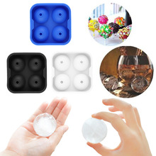Silicone Round Ice Balls Maker Tray Four Large Sphere Molds Cube Whiskey Cocktails With 4 X 4.5cm Capacity Tool hot search(China)