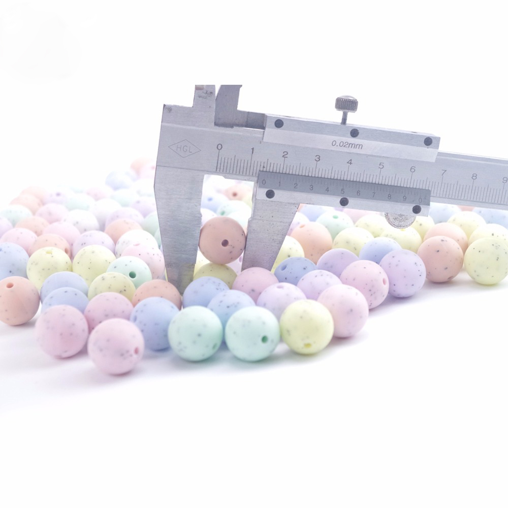 Silicone Sesame 15mm 20pc Candy Colors Round Beads DIY Teething Necklace Chewable Silicone Beads BPA Free Baby Teether Products