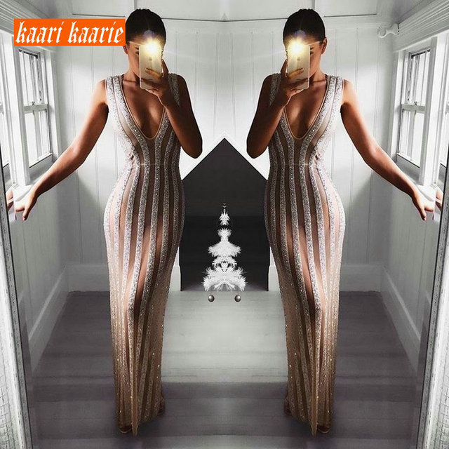 Luxury Bling Party Dress Evening 2019 Banque Long Prom Dresses Women Ever Pretty V-Neck Sleeveless Slim Fit Club Evening Gown