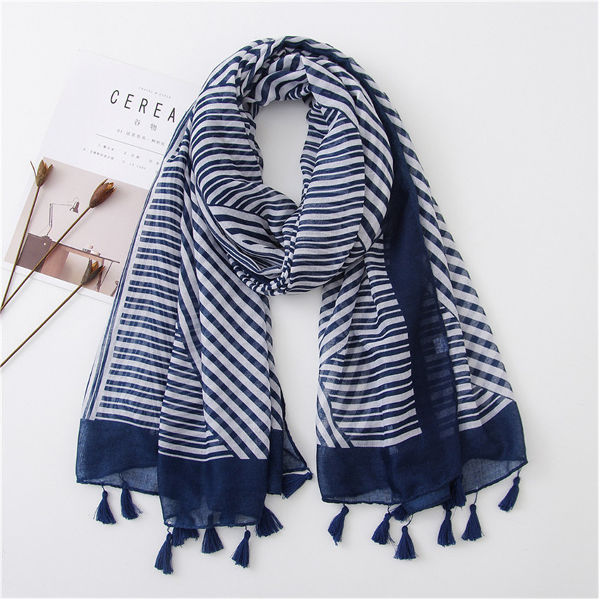 Women Fashion Navy Blue Striped Line Viscose Shawl   Scarf   Lady Print Pashmina   Scarves     Wrap   Hijab Sjaal Female Autumn Winter Capes