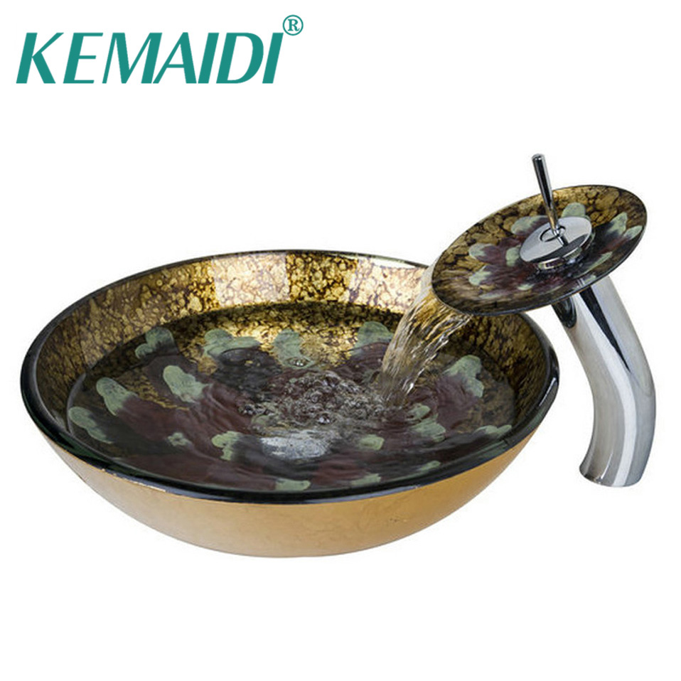 KEMAIDI Bathroom Round Sink Transparent Tempered Glass Vessel Sink With Waterfall Faucet Classic Wash Basin Set fashion style round hand painted artistic victory vessel wash basin tempered glass sink bathroom basin
