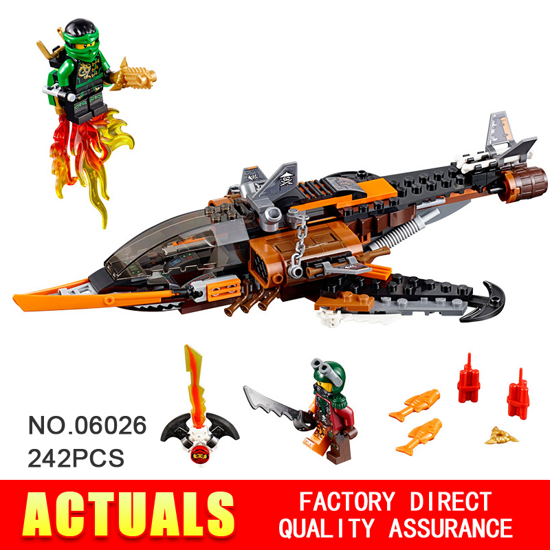 ФОТО 2016 new 242pcs LEPIN 06026 phantom Ninja Sky Shark Building Blocks Minifigures Lloyd Flintlocke Compatible 10445