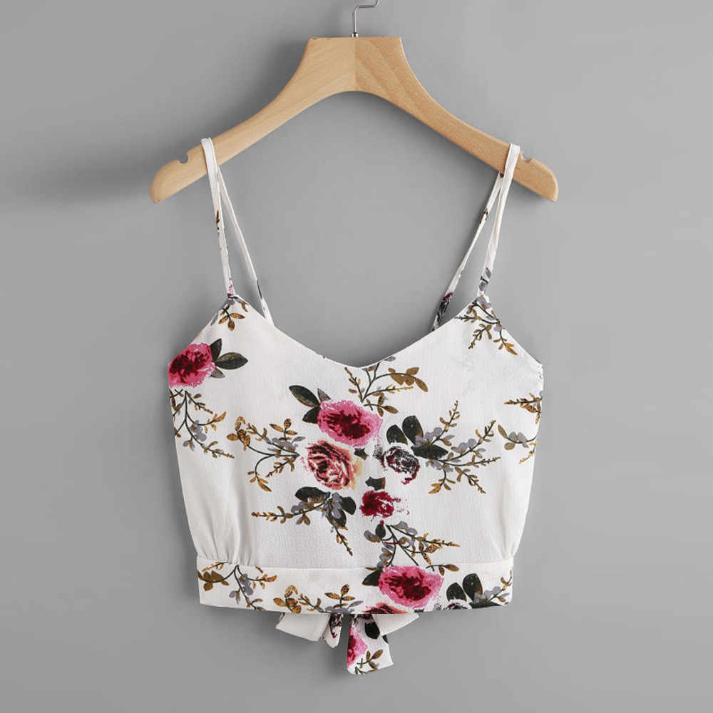 Women's Self Tie Back V Neck Floral Print Crop Cami Top Camisole Blusa Casual Summer Sleeveslee Women shirt Crop Tops 2018