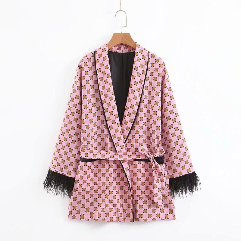 Women Feathers Patchworks Suit Blazer Fashion 2019 Long Sleeve Ladies Geometric Print Blazer Female Office Coat