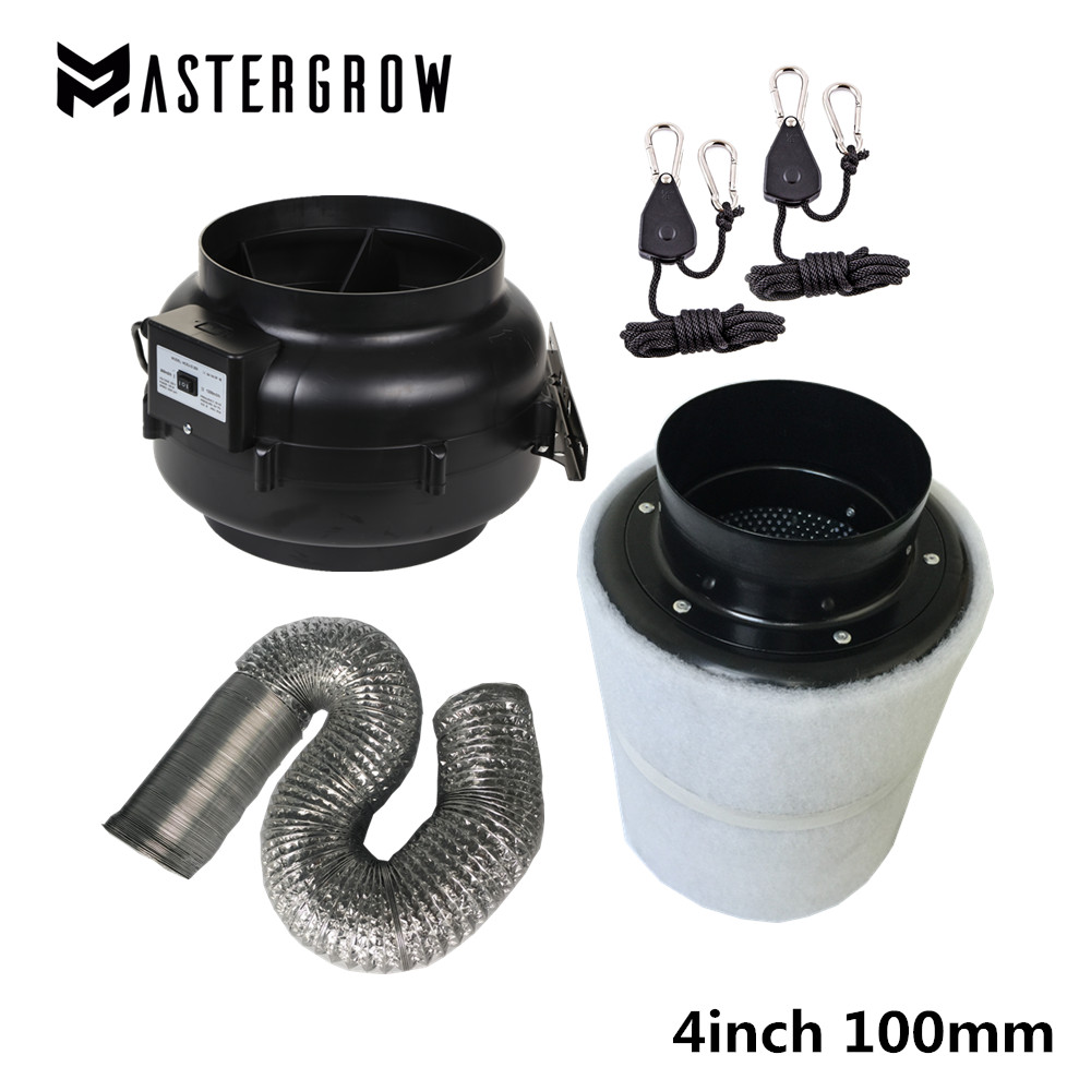 Grow tent 4 Inch 100mm Centrifugal Fans Activated Carbon Air Filter Set For Indoor Hydroponics Grow