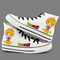 Anime Dragon Ball Z cosplay Canvas shoes Unisex son goku Daily Boots for Halloween Party Fashion Print High top Cool Shoes 01110
