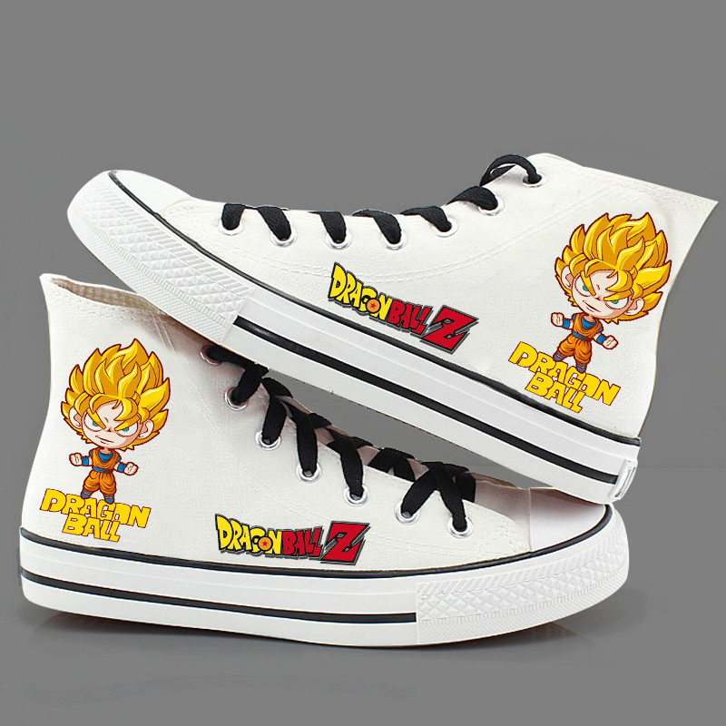 Anime Dragon Ball Z cosplay Canvas shoes Unisex son goku Daily Boots for Halloween Party Fashion Print High-top Cool Shoes 01110