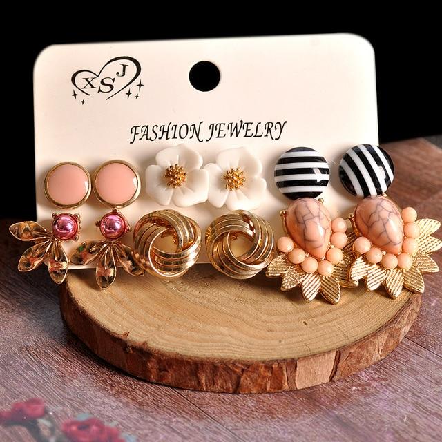 Brincos femininos dourados, joias rosa com formatos florais misturados 6 pares/set presentes 6