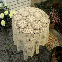 120cm Square Shape Crochet Vintage Knit Retro Decoration Hand made Hook Engraving Flower Weaved/Knitted Round Tablecloth