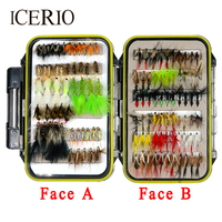 ICERIO 116pcs Set Fishing Fly Dry Wet Streamers Steelhead Nymphs Worms Flies Trout Salmon Fishing Lure