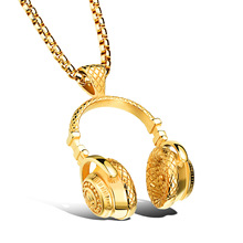 Headset Design Pendant Men Stainless steel Necklace Hip-Pop&Punk Style Box Link Chain 316L Steel Music Headphones Jewelry