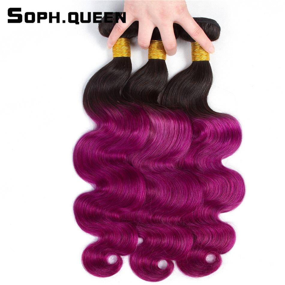 Soph Queen Hair Store Brazilian Body Human Hair Bundles T1B/Pur 8A Grade Remy Can Be Dye Body Wave Bundles 3Pcs/Pack