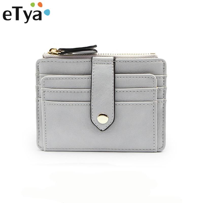 cd4d32814700 PU Leather Thin Card Case Women Wallet Pocket Card Holder Purse Fashion  Short Slim Female Mini Coin Pocket Black Hot Sale