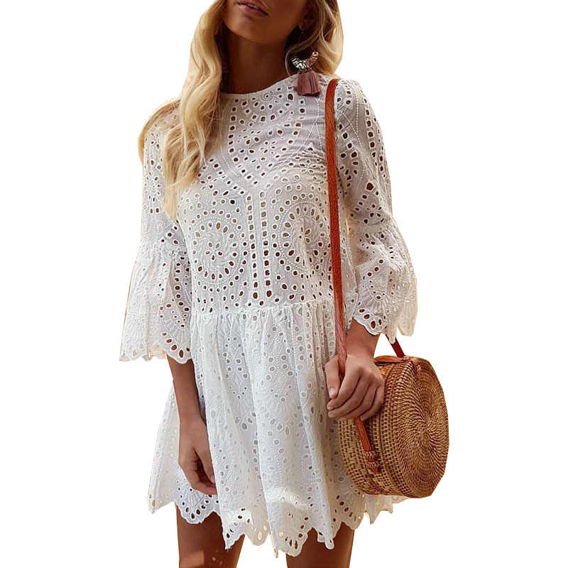 Women summer dresses 2019 new quality summer dress three quarter sleeve sexy hollow out lace o neck mini dress vestidos OYM0841