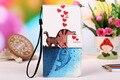 Para wiko caso com slots de cartão de couro de alta qualidade pu pintura ensolarado azul borboleta & owl case + cordão presente