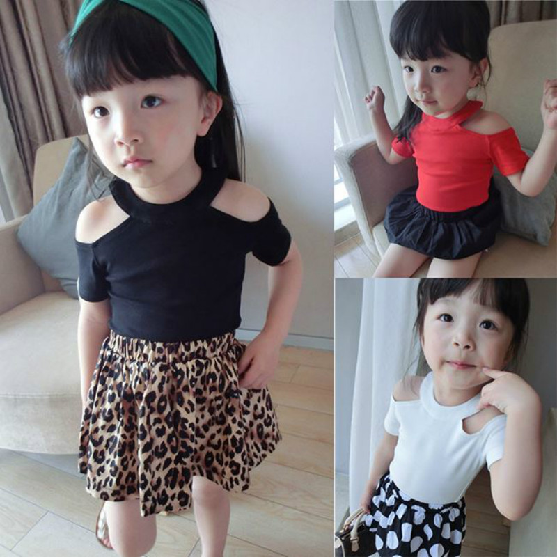 T-Shirt Kids Clothing Off-Shoulder Basic Girls Children Summer Cute Cotton Top Fashion title=