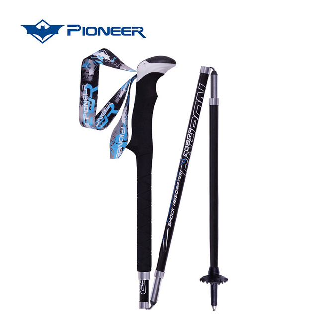 Pioneer Hiking Pole Trekking Sticks Climbing Walking Trekking Poles Carbon  Fiber Folding Nordic Walking Sticks Camping