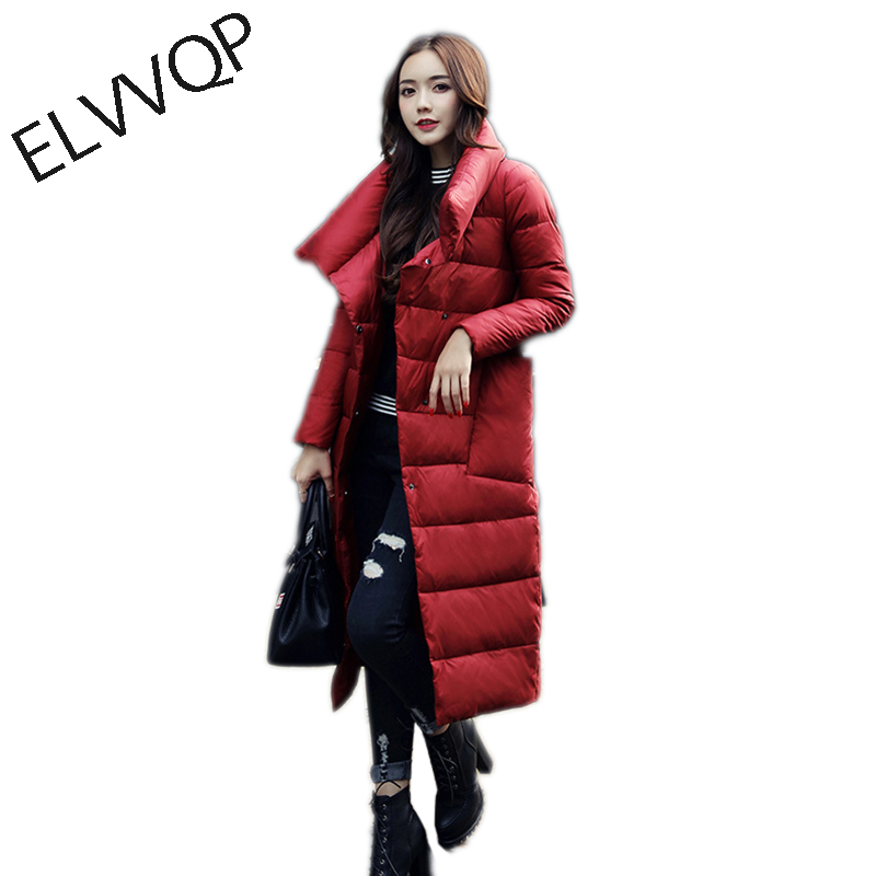 Down Jacket Women 2018 New Luxury Long Down Jacket Casual Loose White Duck Down Coat Thick Warm Oversized Female Parka LF621