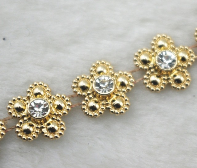 14mm Gold Pearl Flower Chain Trims Sewing Costume Applique Cake Decoration  LZ159 NEW 3b2fecdaf8a5