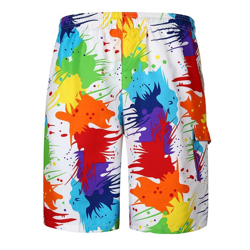 Summer Hot Sale Men Beach Shorts Quick Dry Printing Board Shorts Men Casual Slim Boxers Bottoms Men Short Pants Printed Pocket