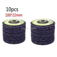 10pcs Purple Abrasive Tools 100*22mm Poly Strip Wheels Paint Rust Removal Clean Angle Grinder Discs