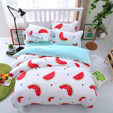 printing Watermelon Bedding set Cotton bed sheet duvet cover pillow case / edredon queen king size double bedclothes cubre canas